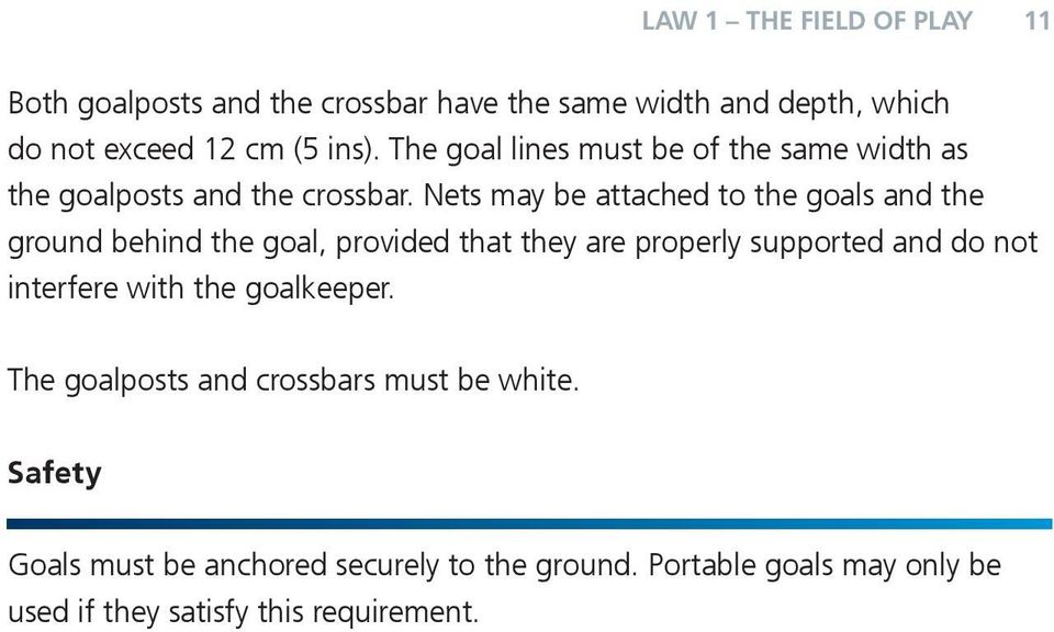 Nets may be attached to the goals and the ground behind the goal, provided that they are properly supported and do not interfere