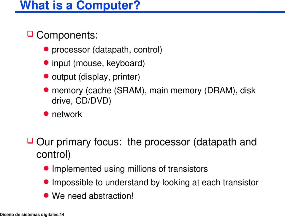 memory (cache (SRAM), main memory (DRAM), disk drive, CD/DVD) network Our primary focus: the