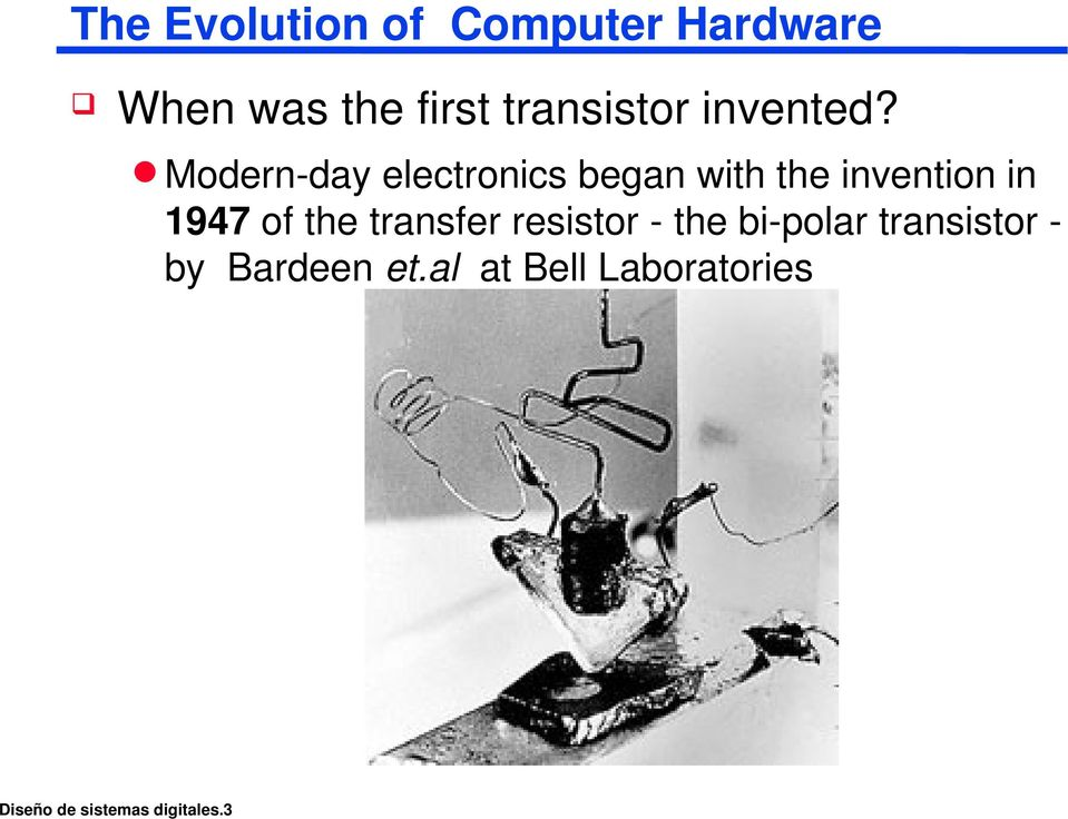 Modern day electronics began with the invention in 1947 of