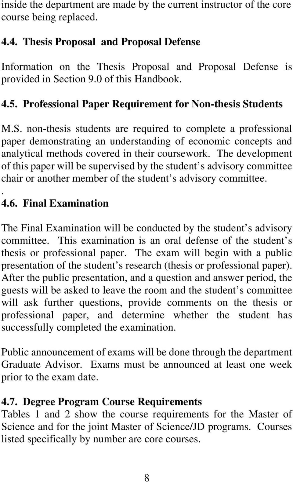 Professional Paper Requirement for Non-thesis St