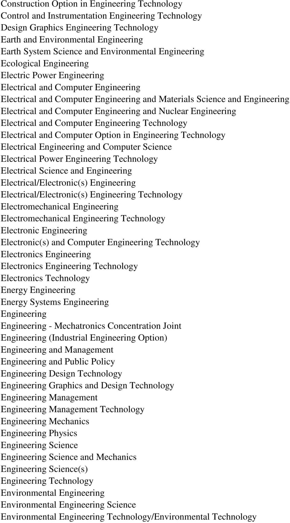 and Computer Engineering and Nuclear Engineering Electrical and Computer Engineering Technology Electrical and Computer Option in Engineering Technology Electrical Engineering and Computer Science