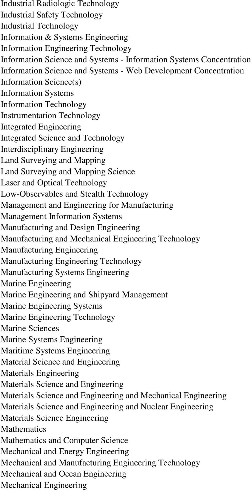 Engineering Integrated Science and Technology Interdisciplinary Engineering Land Surveying and Mapping Land Surveying and Mapping Science Laser and Optical Technology Low-Observables and Stealth
