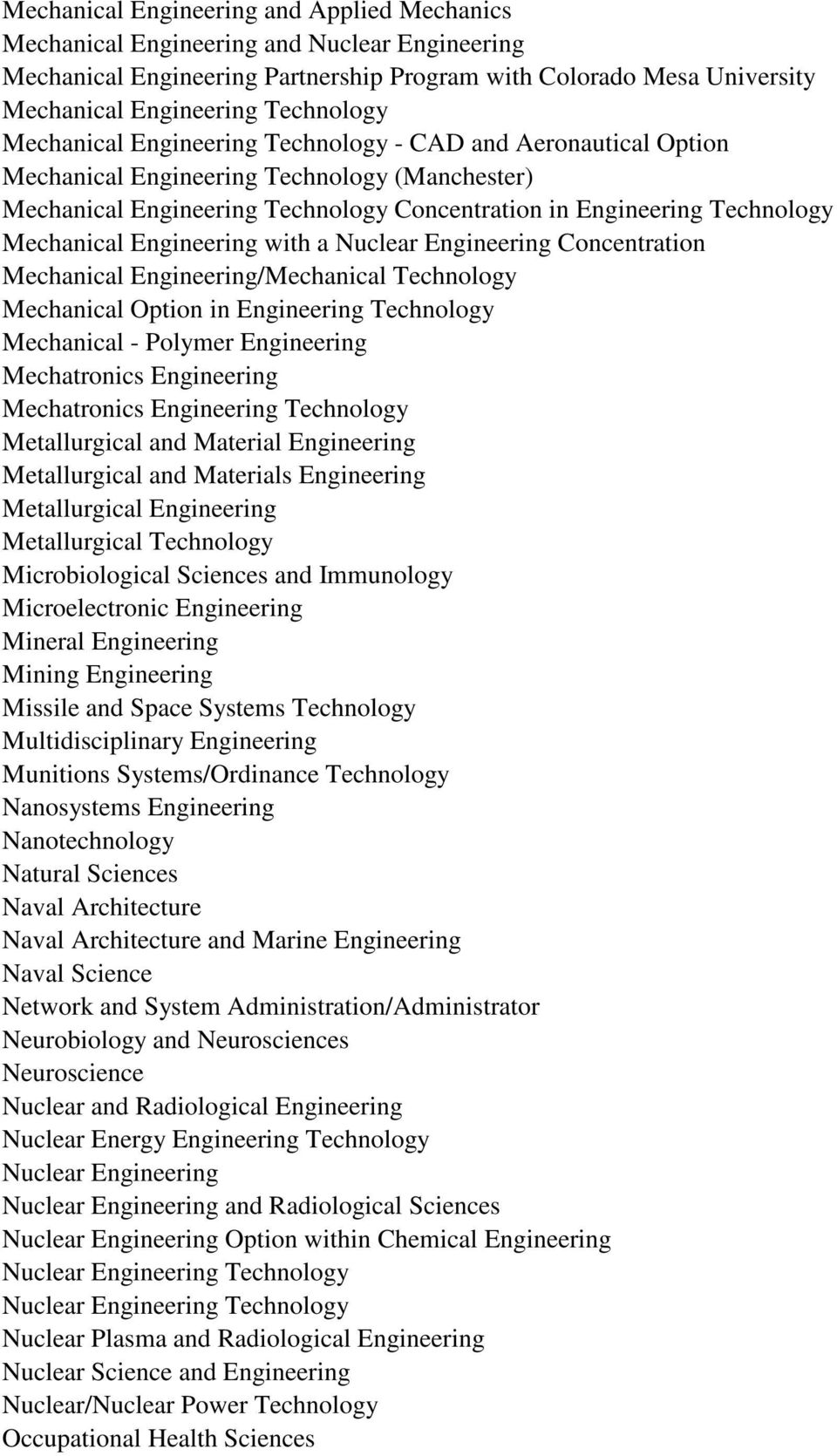 Engineering with a Nuclear Engineering Concentration Mechanical Engineering/Mechanical Technology Mechanical Option in Engineering Technology Mechanical - Polymer Engineering Mechatronics Engineering