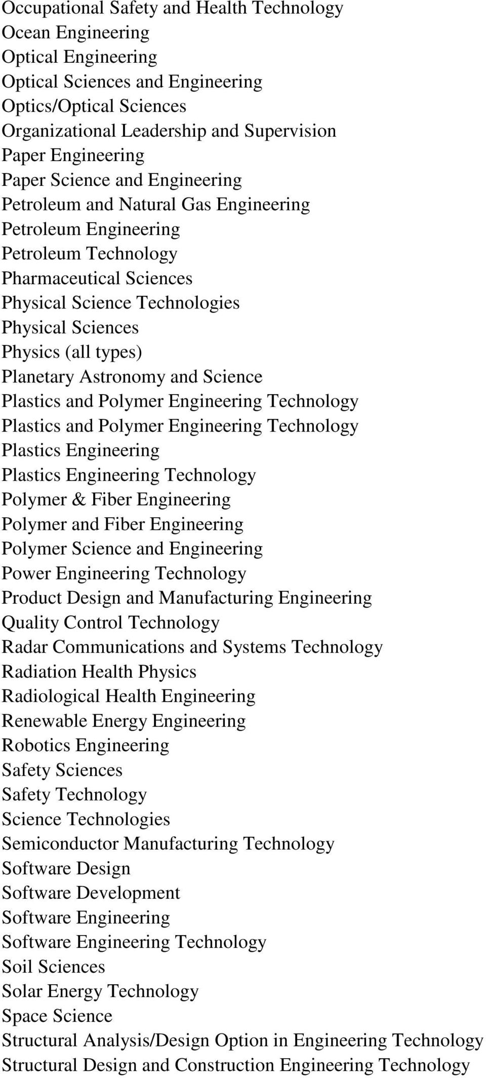 types) Planetary Astronomy and Science Plastics and Polymer Engineering Technology Plastics and Polymer Engineering Technology Plastics Engineering Plastics Engineering Technology Polymer & Fiber
