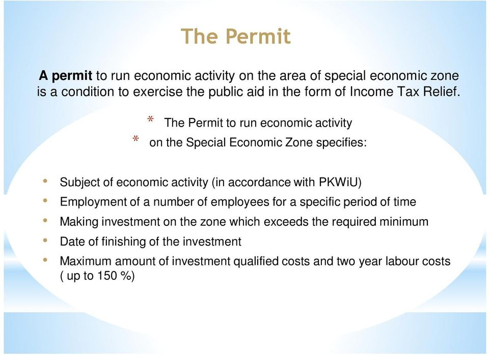 * The Permit to run economic activity * on the Special Economic Zone specifies: Subject of economic activity (in accordance with PKWiU)