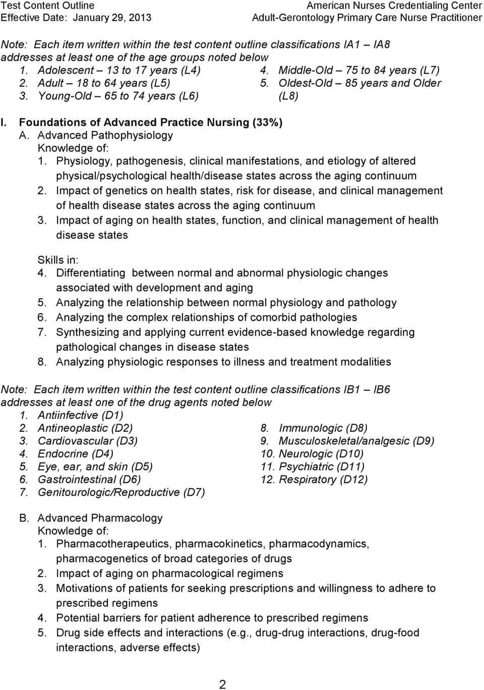 Advanced Pathophysiology 1. Physiology, pathogenesis, clinical manifestations, and etiology of altered physical/psychological health/disease states across the aging continuum 2.