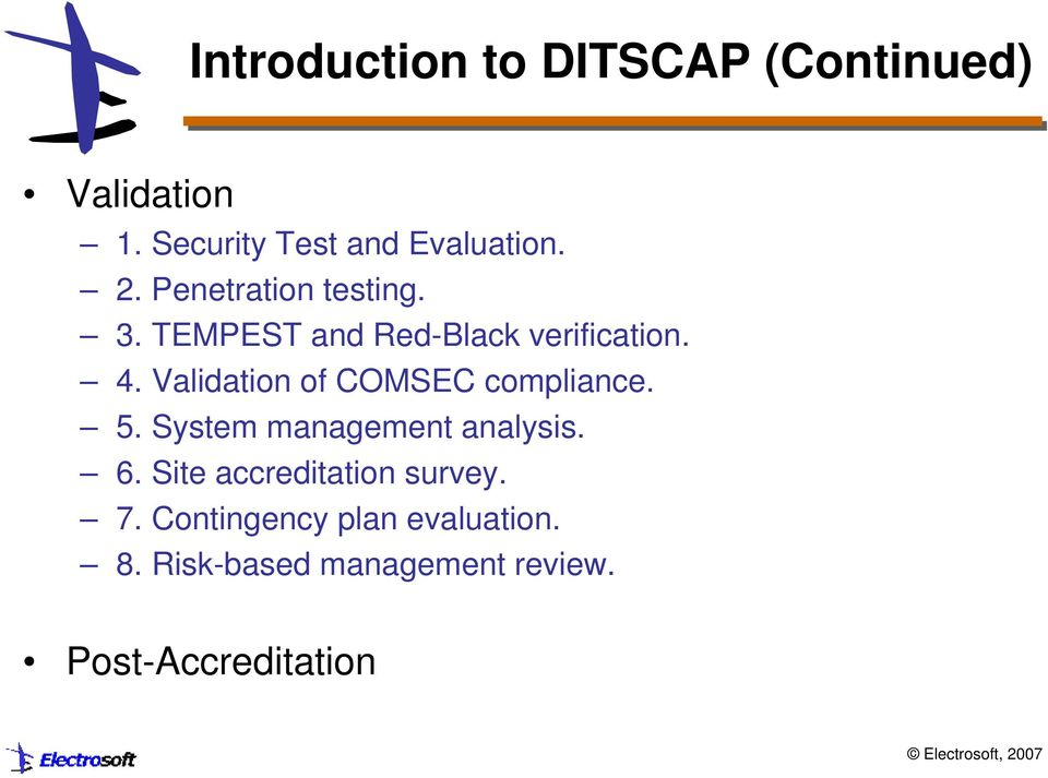 Validation of COMSEC compliance. 5. System management analysis. 6.
