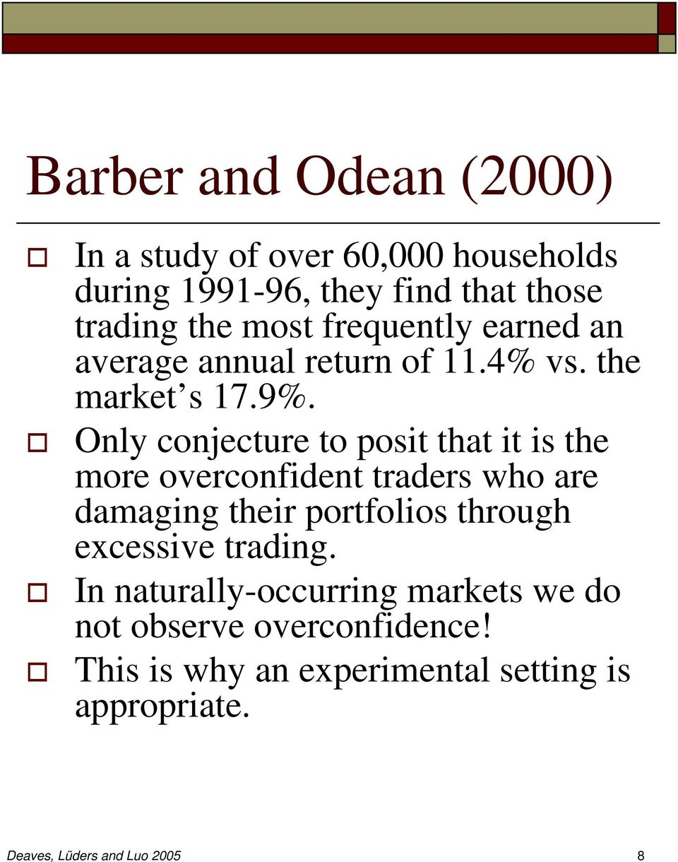 Only conjecture to posit that it is the more overconfident traders who are damaging their portfolios through