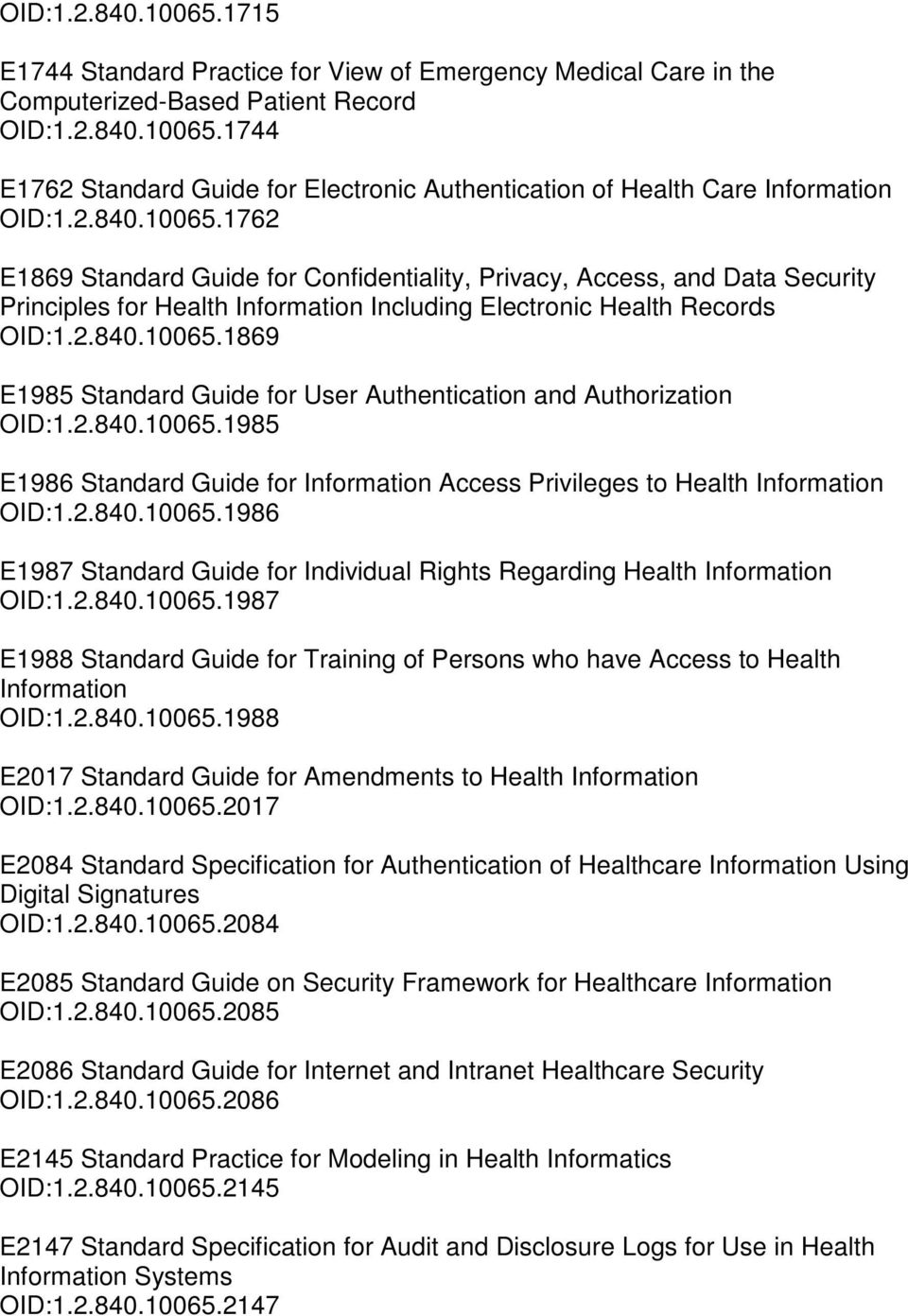 2.840.10065.1985 E1986 Standard Guide for Information Access Privileges to Health Information OID:1.2.840.10065.1986 E1987 Standard Guide for Individual Rights Regarding Health Information OID:1.2.840.10065.1987 E1988 Standard Guide for Training of Persons who have Access to Health Information OID:1.