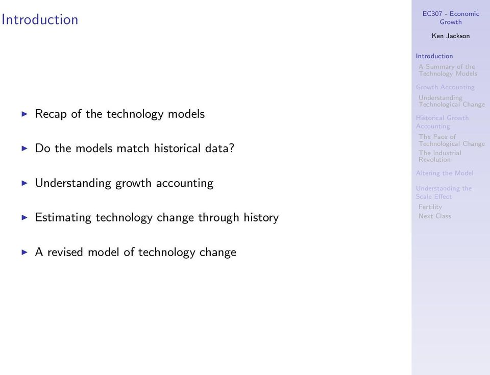 growth accounting Estimating technology