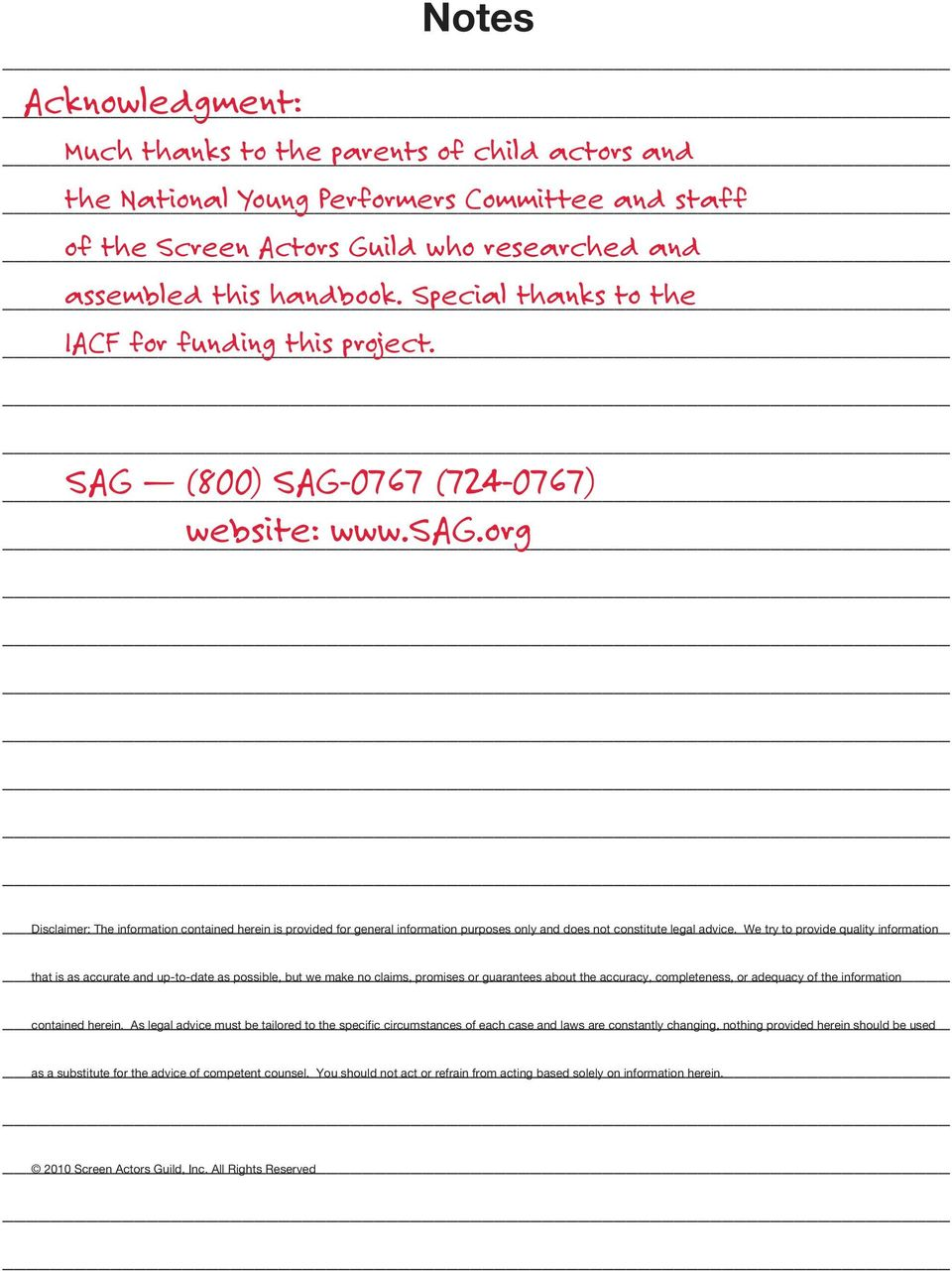 Young Performers Handbook - PDF