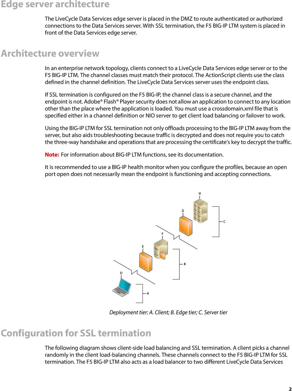Architecture overview In an enterprise network topology, clients connect to a LiveCycle Data Services edge server or to the F5 BIG-IP LTM. The channel classes must match their protocol.