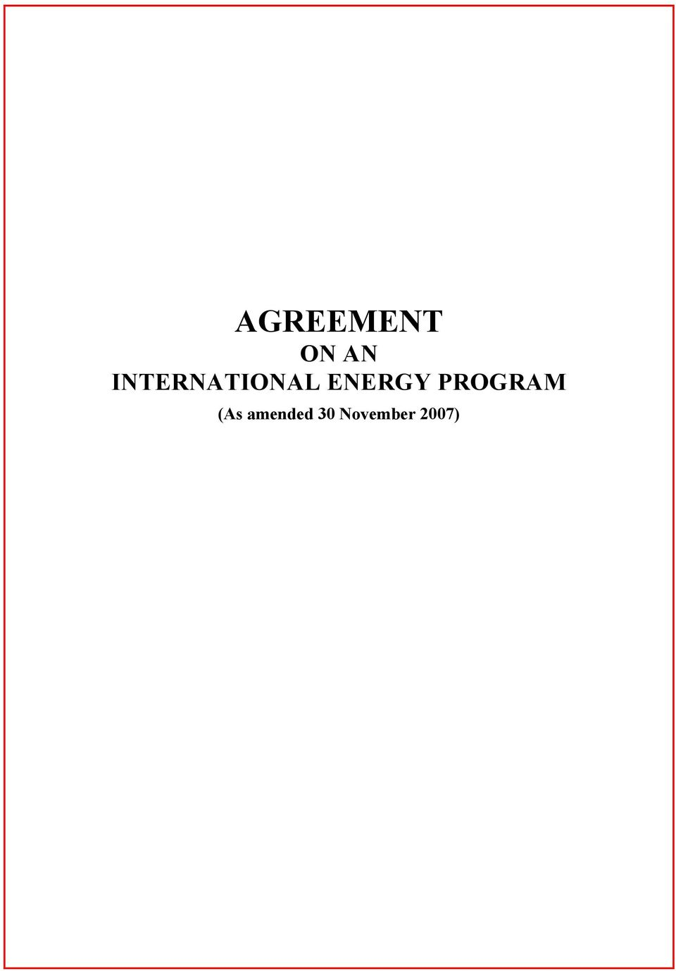 ENERGY PROGRAM (As