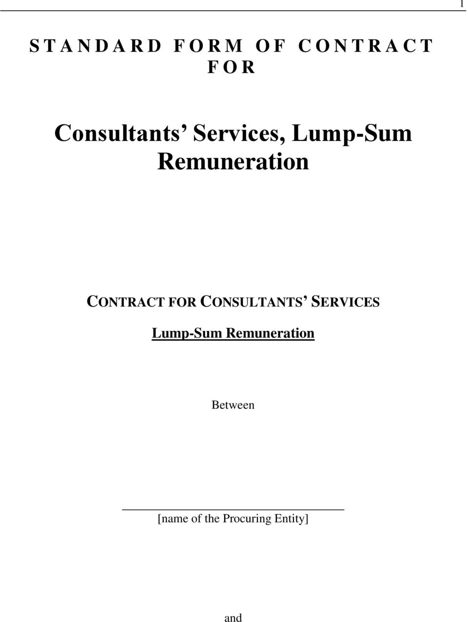 CONTRACT FOR CONSULTANTS SERVICES Lump-Sum