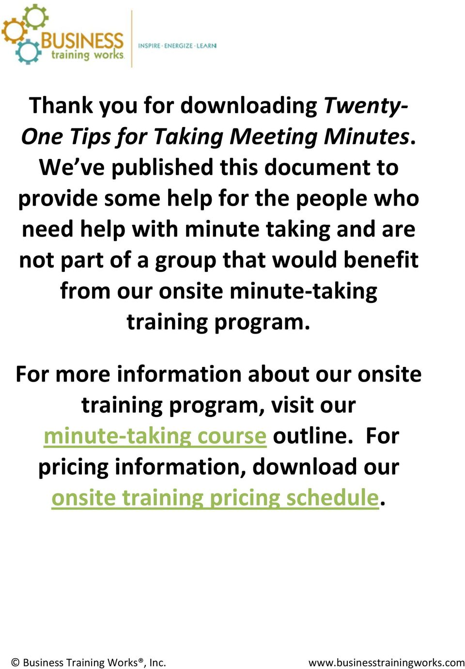 group that would benefit from our onsite minute taking training program.