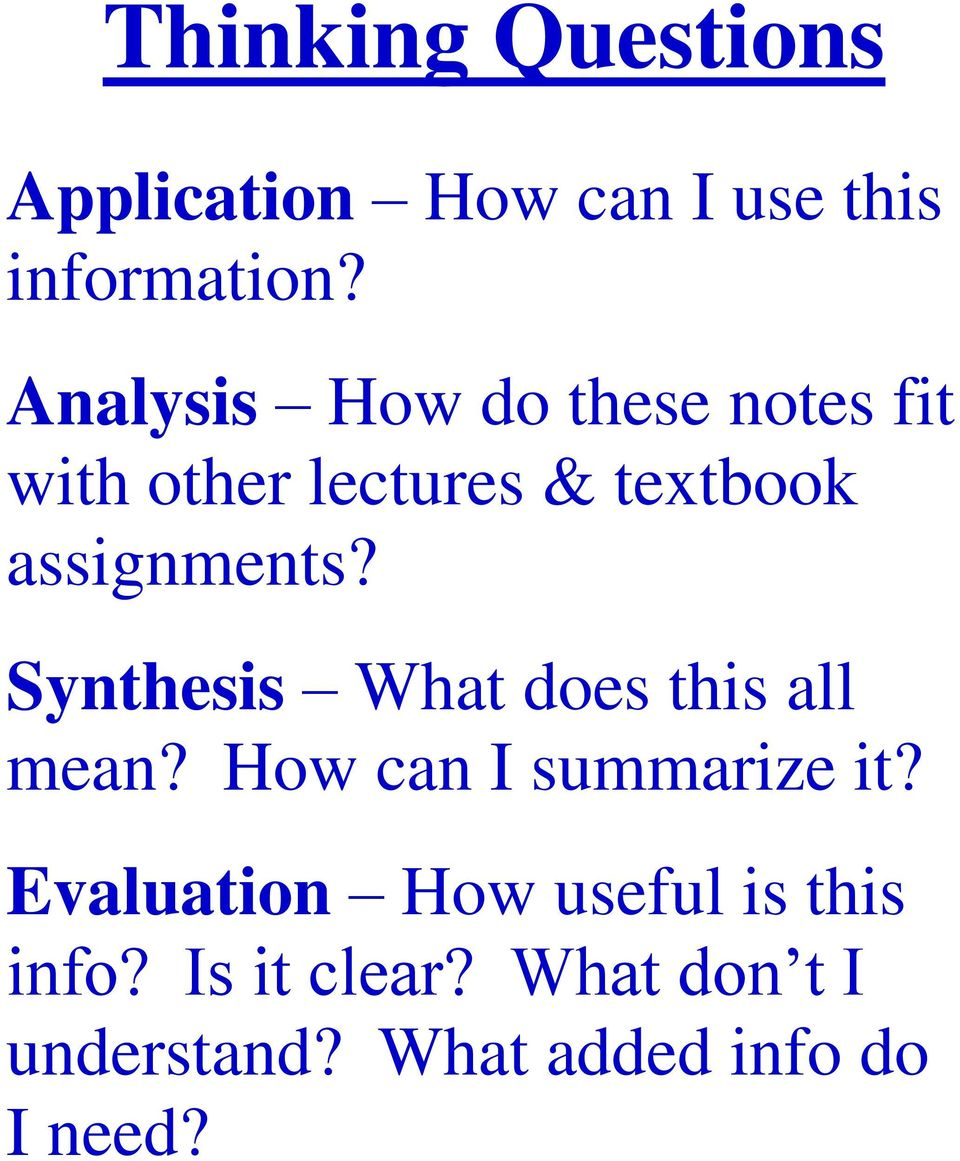 Synthesis What does this all mean? How can I summarize it?