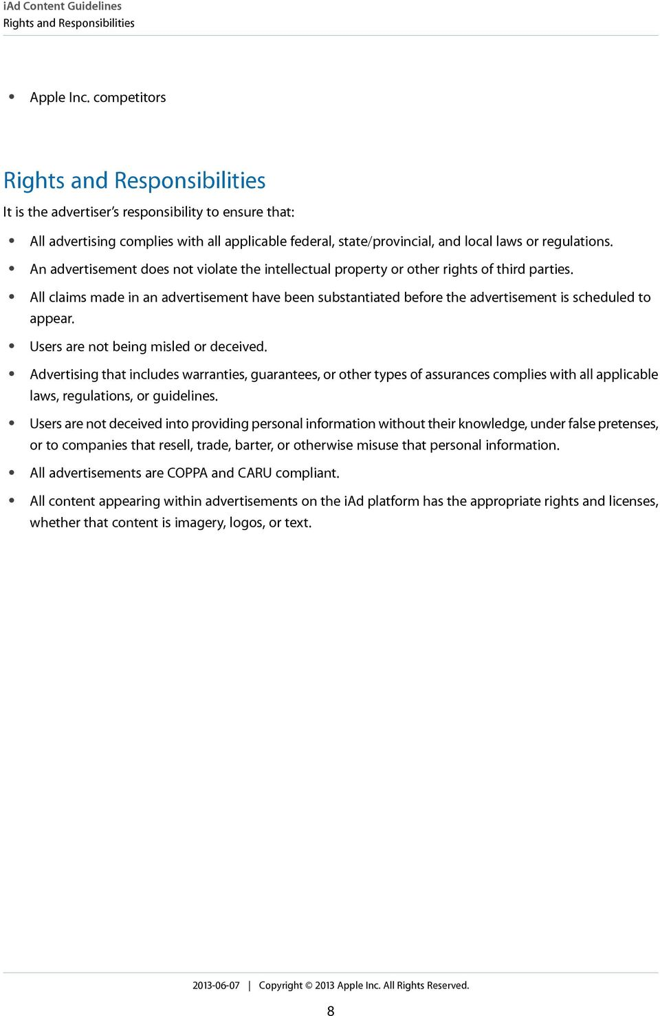 An advertisement does not violate the intellectual property or other rights of third parties.