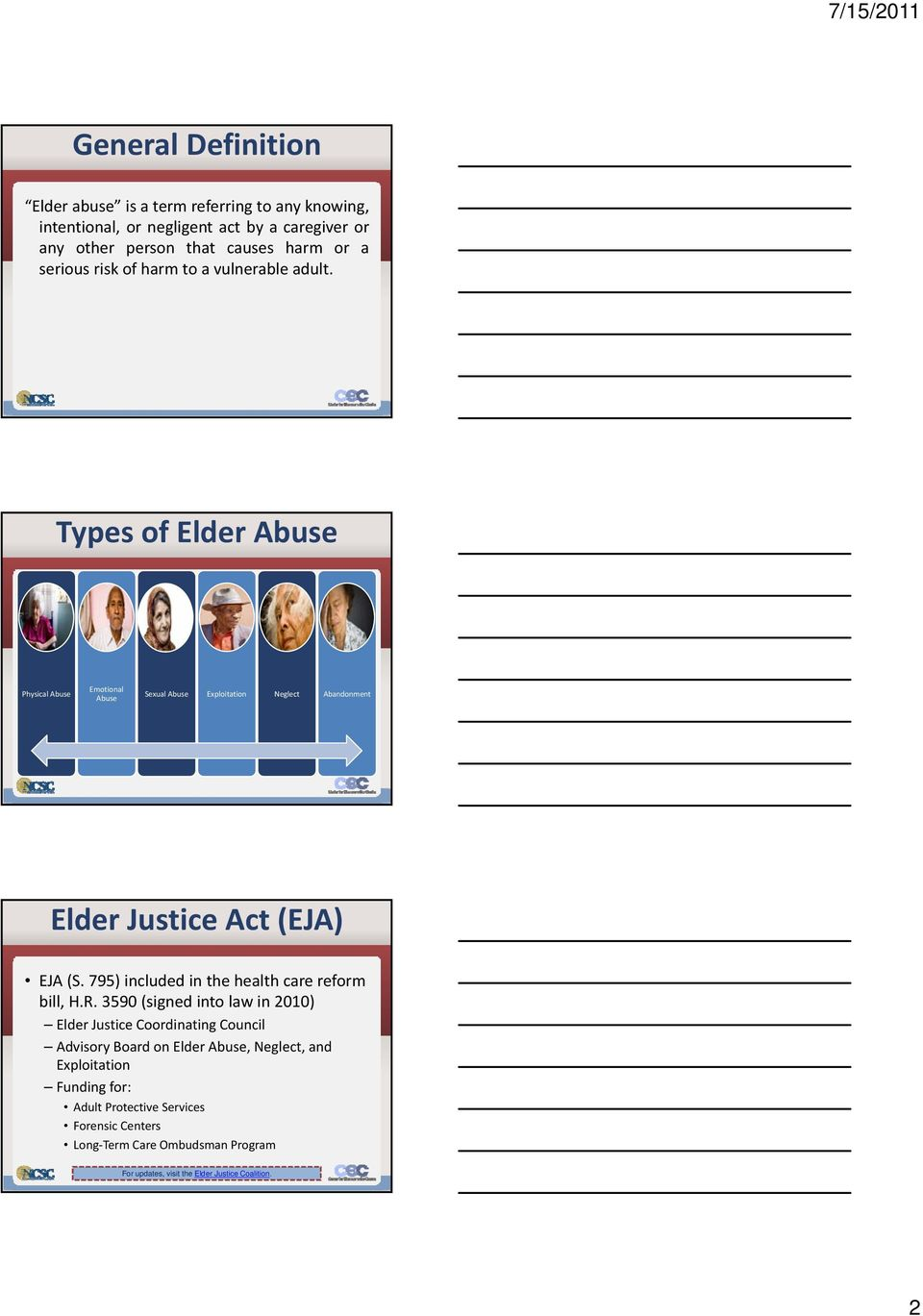 Types of Elder Abuse Physical Abuse Emotional Abuse Sexual Abuse Exploitation Neglect Abandonment Elder Justice Act (EJA) EJA (S.