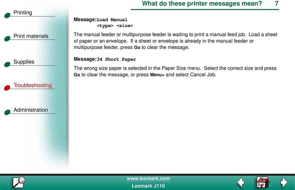 If a sheet or envelope is already in the manual feeder or multipurpose feeder, press Go to clear the message.