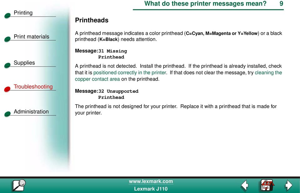 Message:31 Missing Printhead A printhead is not detected. Install the printhead.