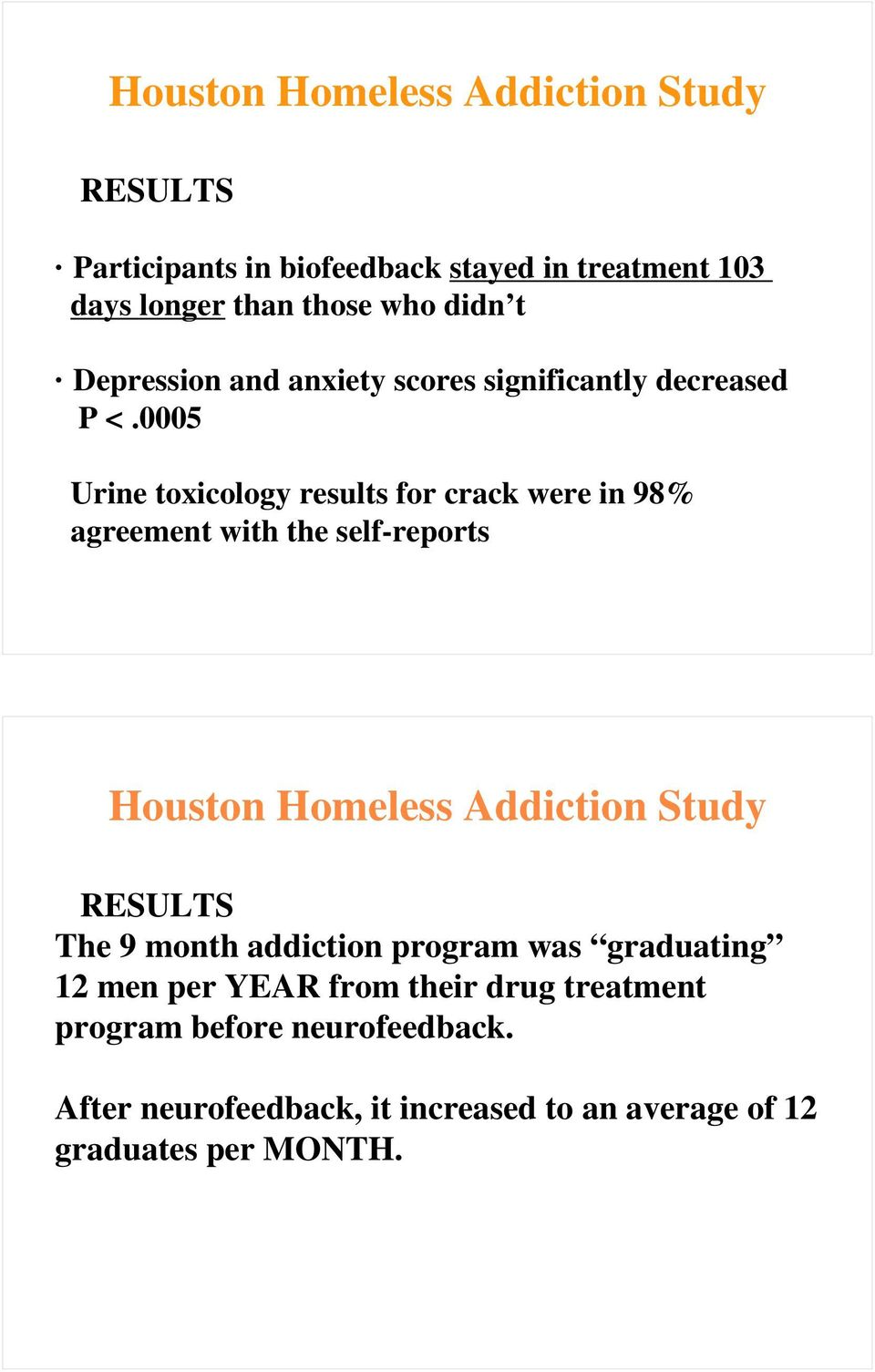 0005 Urine toxicology results for crack were in 98% agreement with the self-reports Houston Homeless Addiction Study RESULTS