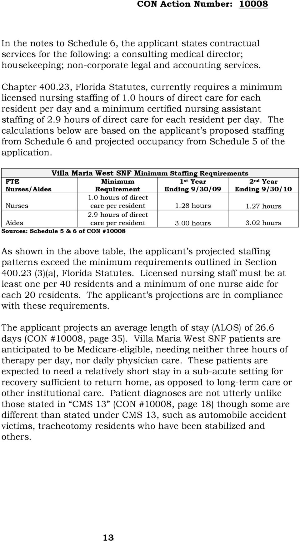 9 hours of direct care for each resident per day. The calculations below are based on the applicant s proposed staffing from Schedule 6 and projected occupancy from Schedule 5 of the application.