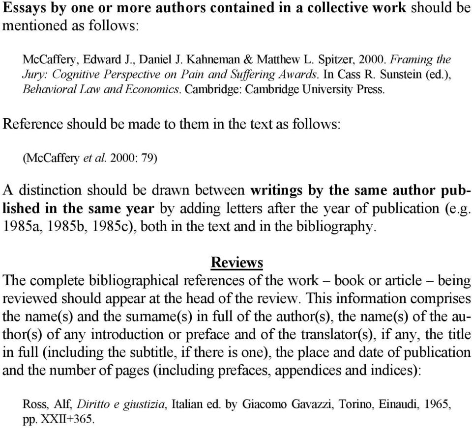 Reference should be made to them in the text as follows: (McCaffery et al.