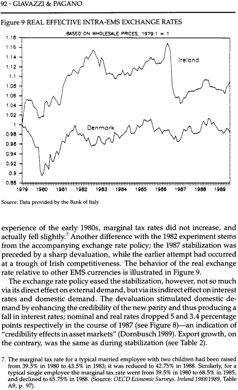 7 Another difference with the 1982 experiment stems from the accompanying exchange rate policy; the 1987 stabilization was preceded by a sharp devaluation, while the earlier attempt had occurred at a