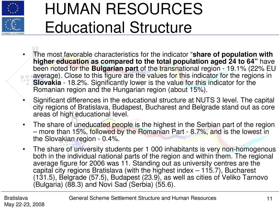 Significant differences in the educational structure at NUTS 3 level. The capital city regions of, Budapest, Bucharest and Belgrade stand out as core areas of high educational level.