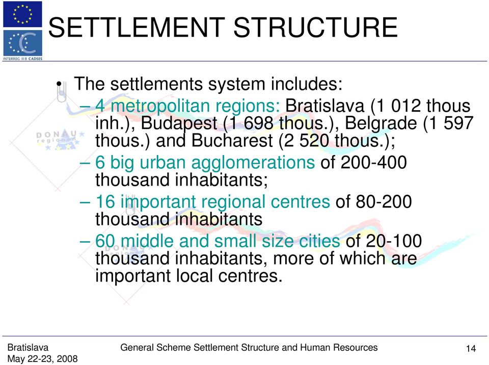 ); 6 big urban agglomerations of 200-400 thousand inhabitants; 16 important regional centres of 80-200 thousand