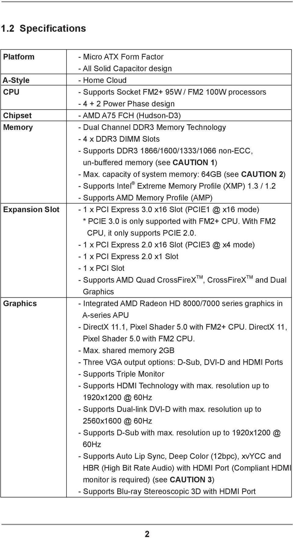 capacity of system memory: 64GB (see CAUTION 2) - Supports Intel Extreme Memory Proile (XMP) 1.3 / 1.2 - Supports AMD Memory Proile (AMP) - 1 x PCI Express 3.0 x16 Slot (PCIE1 @ x16 mode) * PCIE 3.