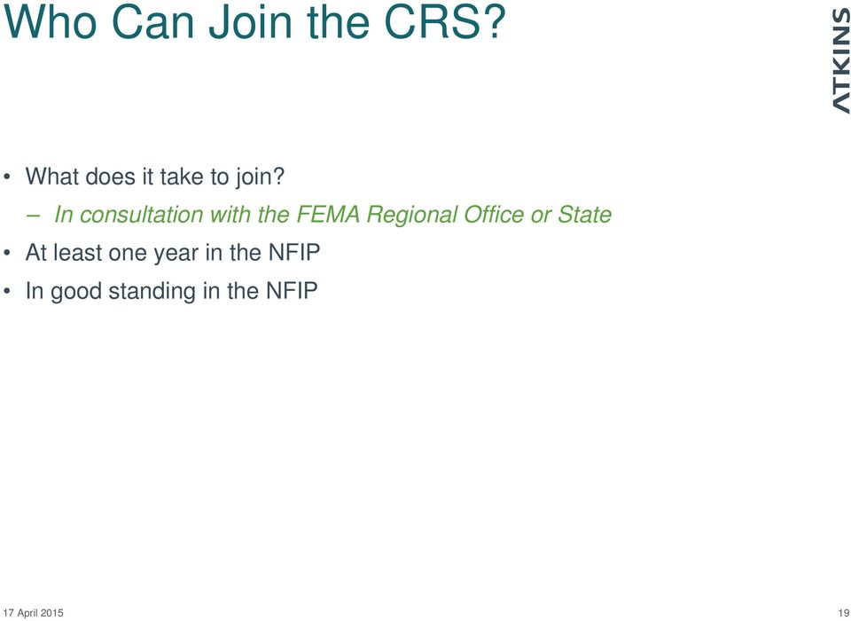 In consultation with the FEMA Regional