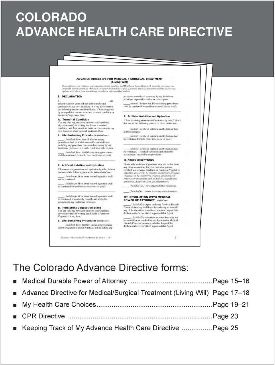 ..Page 15 16 Advance Directive for Medical/Surgical Treatment (Living Will).