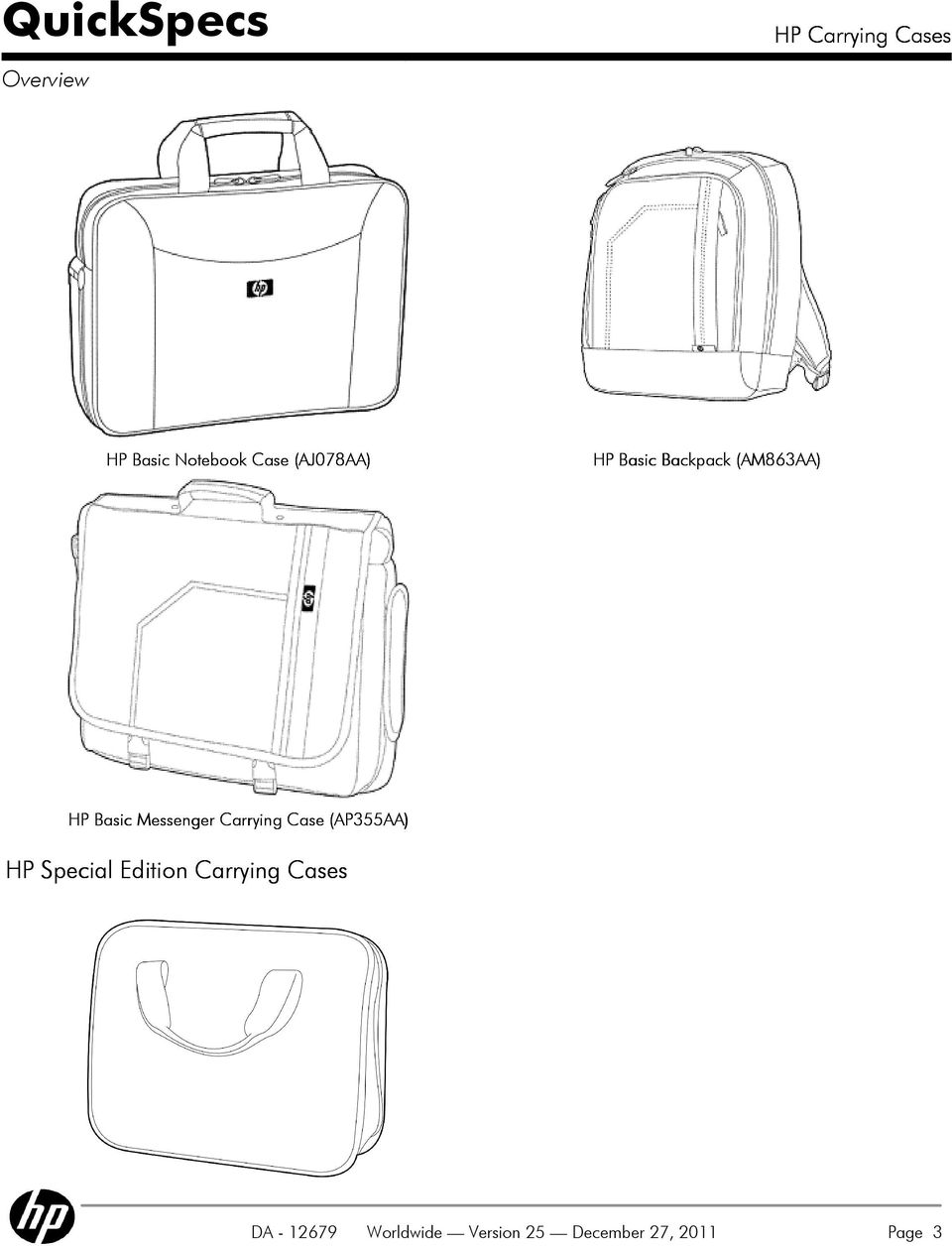 Case (AP355AA) HP Special Edition Carrying Cases
