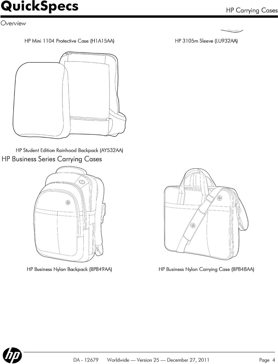 Series Carrying Cases HP Business Nylon Backpack (BP849AA) DA - 12679 HP