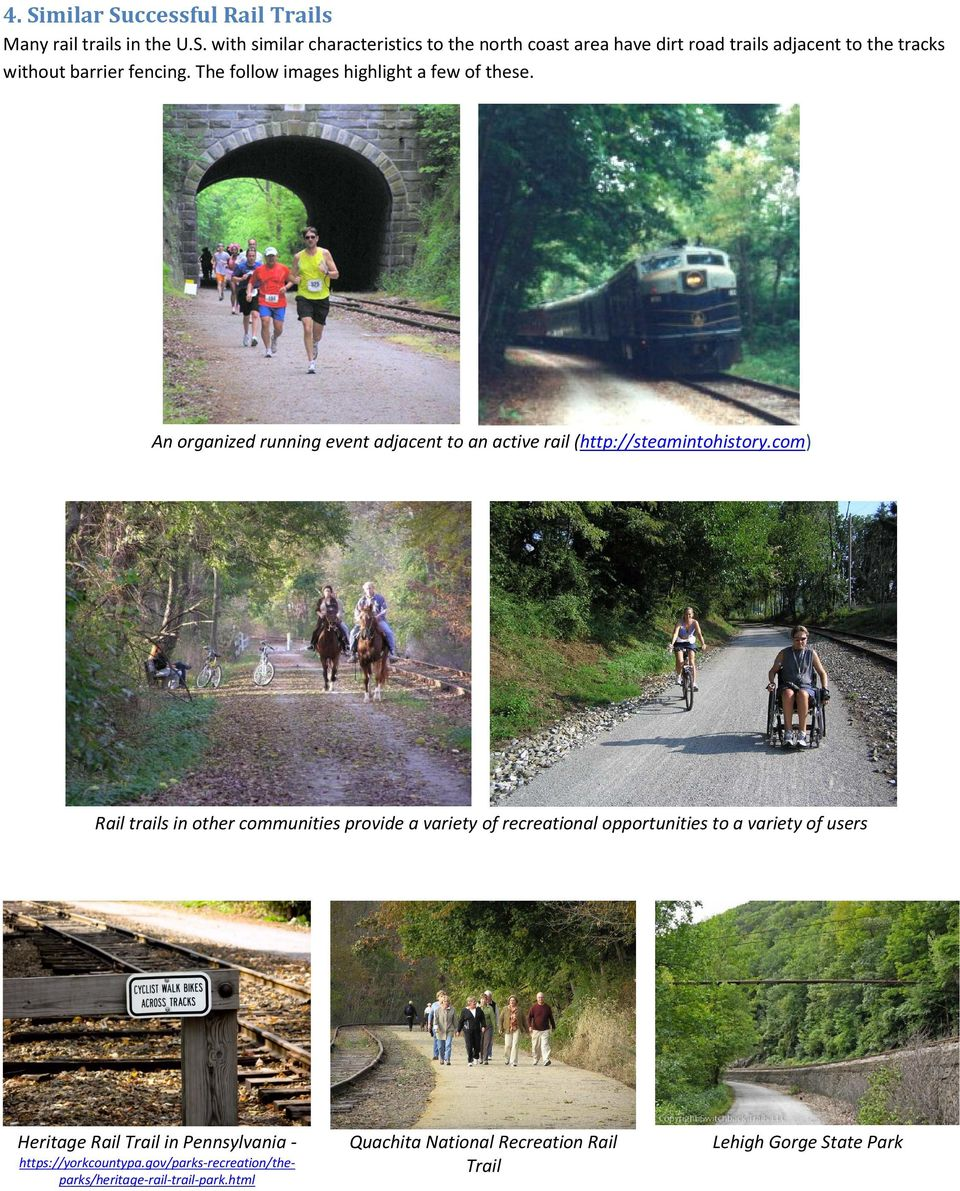 com) Rail trails in other communities provide a variety of recreational opportunities to a variety of users Heritage Rail Trail in Pennsylvania