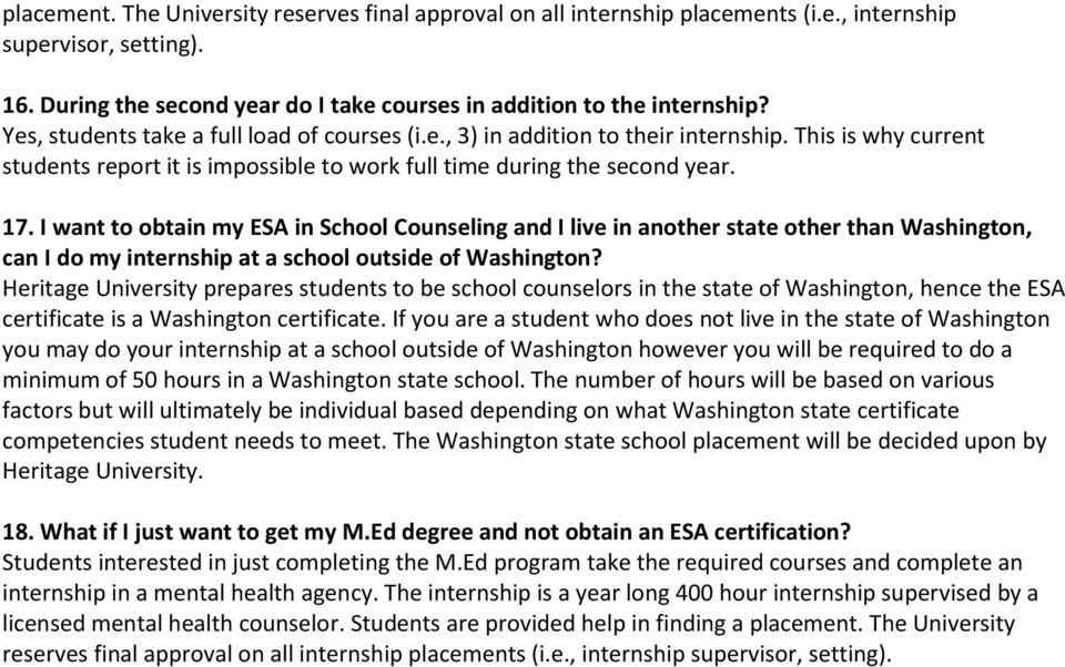 I want to obtain my ESA in School Counseling and I live in another state other than Washington, can I do my internship at a school outside of Washington?