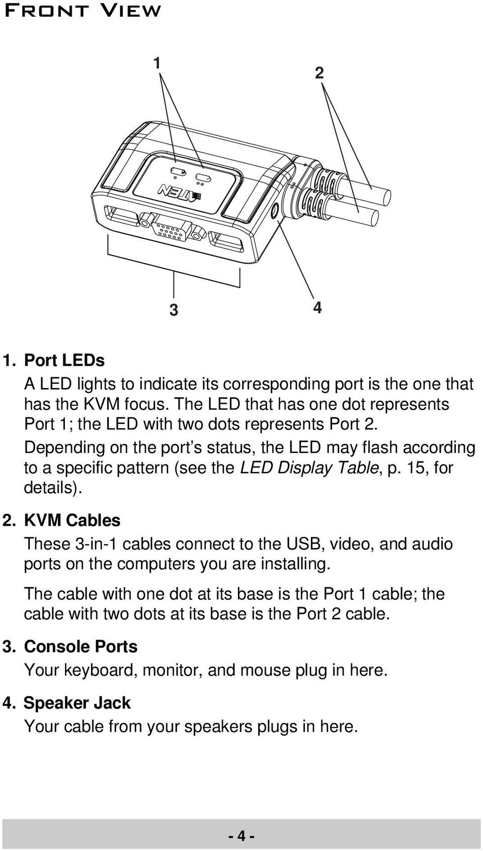 Depending on the port s status, the LED may flash according to a specific pattern (see the LED Display Table, p. 15, for details). 2.