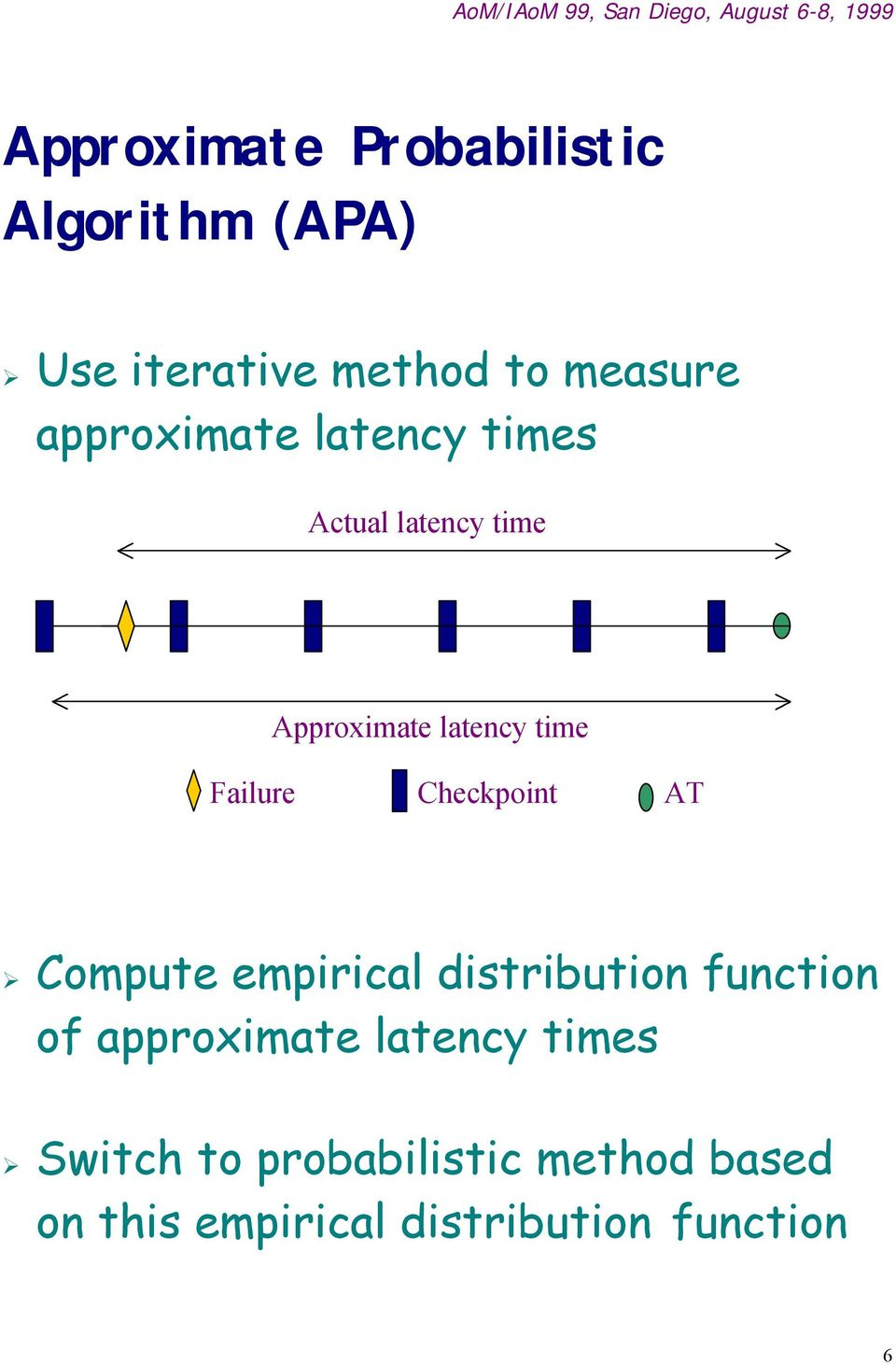 Checkpoint AT Compute empirical distribution function of approximate latency