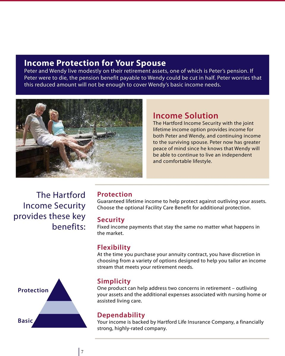 Income Solution The Hartford Income Security with the joint lifetime income option provides income for both Peter and Wendy, and continuing income to the surviving spouse.