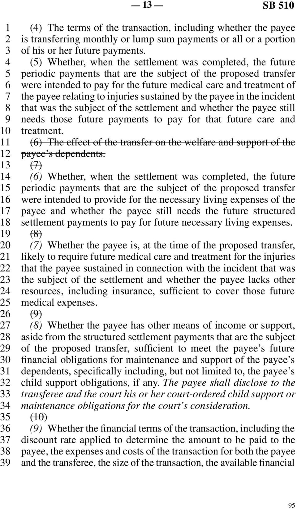 relating to injuries sustained by the payee in the incident that was the subject of the settlement and whether the payee still needs those future payments to pay for that future care and treatment.