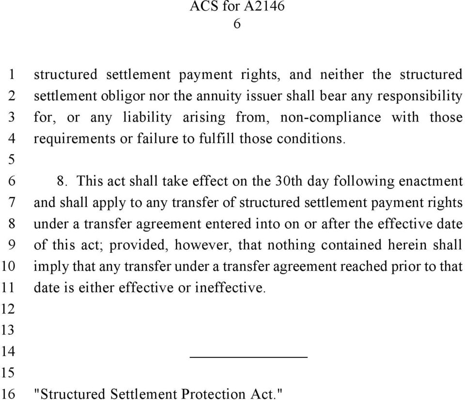 . This act shall take effect on the 0th day following enactment and shall apply to any transfer of structured settlement payment rights under a transfer agreement entered