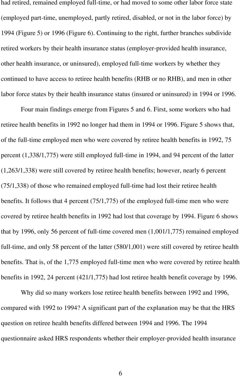 Continuing to the right, further branches subdivide retired workers by their health insurance status (employer-provided health insurance, other health insurance, or uninsured), employed full-time