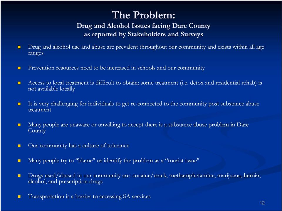 is very challenging for individuals to get re-connected to the community post substance abuse treatment Many people are unaware or unwilling to accept there is a substance abuse problem in Dare