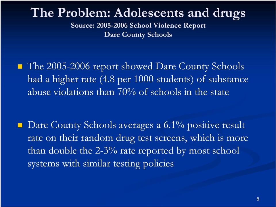 8 per 1000 students) of substance abuse violations than 70% of schools in the state Dare County Schools averages
