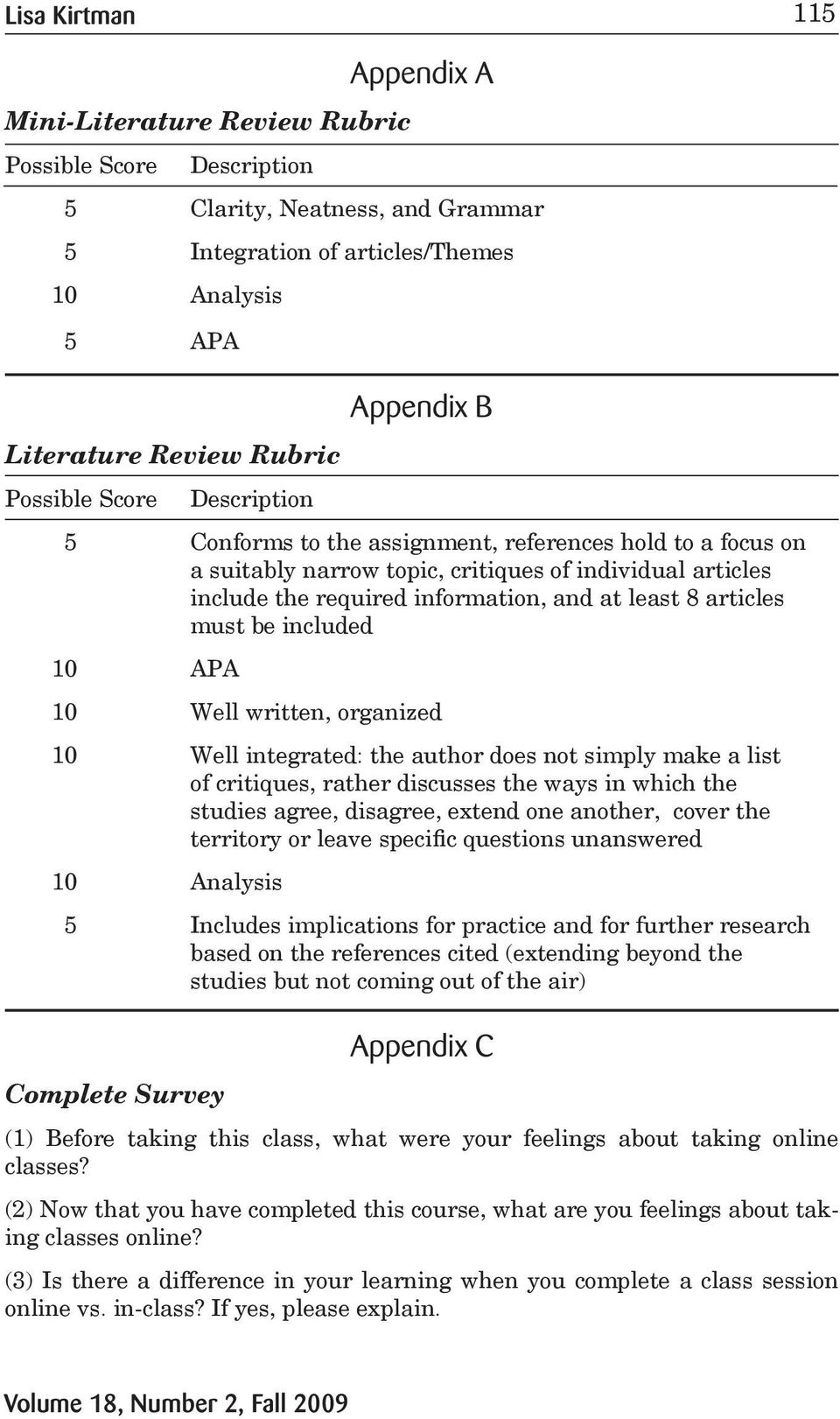 8 articles must be included 10 APA 10 Well written, organized 10 Well integrated: the author does not simply make a list of critiques, rather discusses the ways in which the studies agree, disagree,