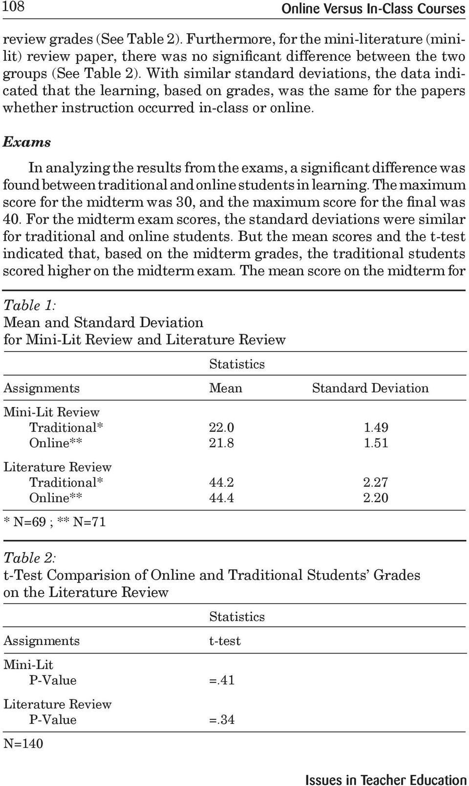 Exams In analyzing the results from the exams, a significant difference was found between traditional and online students in learning.