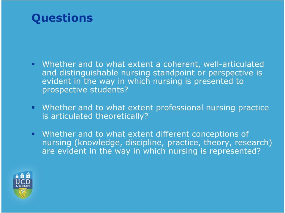 Whether and to what extent professional nursing practice is articulated theoretically?