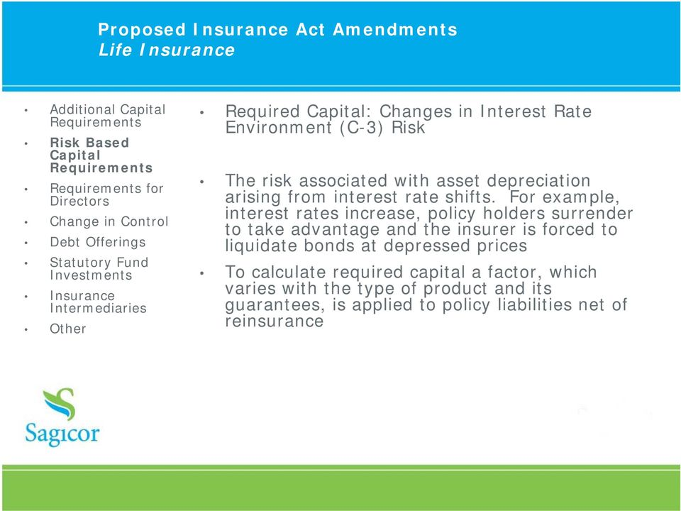 For example, interest rates increase, policy holders surrender to take advantage and the insurer is forced to