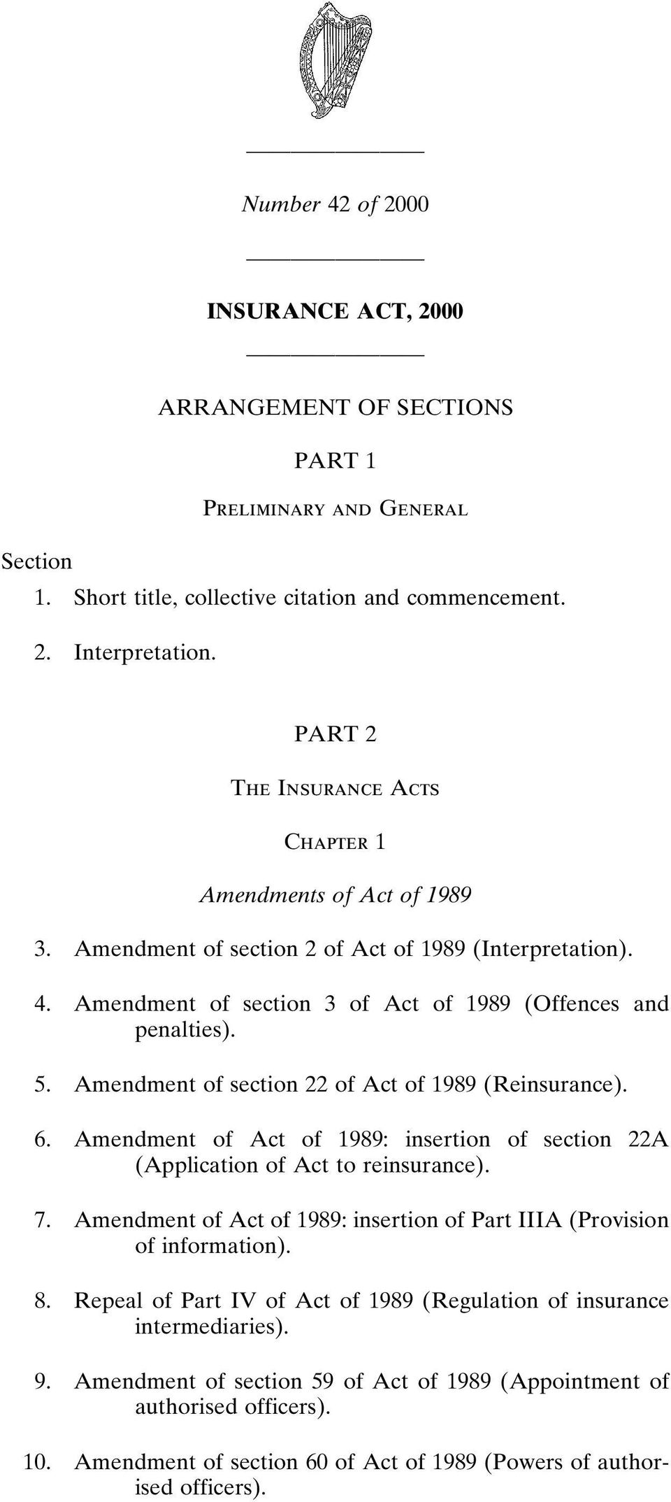 section 22 of Act of 1989 (Reinsurance). 6. Act of 1989: insertion of section 22A (Application of Act to reinsurance). 7.